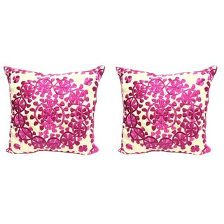 Handmade Moroccan Silk Embroidered Floral Pillow- A Pair