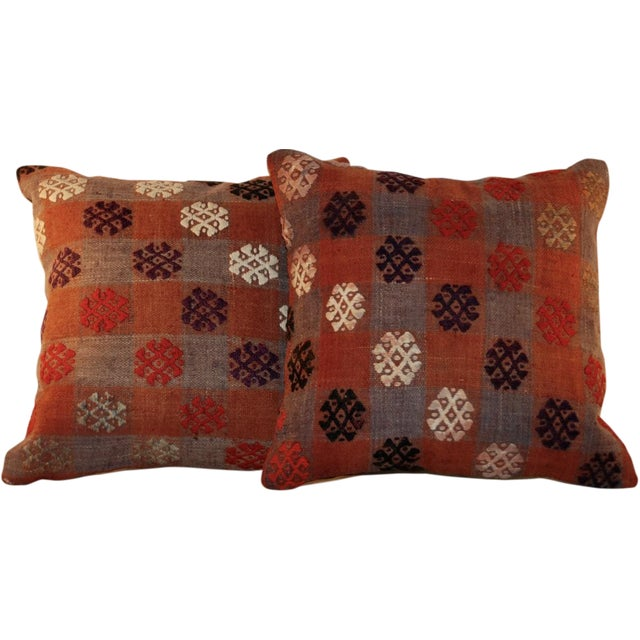 Vintage Handmade Kilim Pillows - a Pair - Image 1 of 7