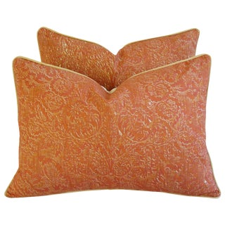 Italian Mariano Fortuny Fabric Feather/Down Pillows - a Pair