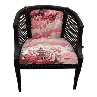 Mid-Century Asian Chinoiserie Pink & Black Barrel Cane Chair