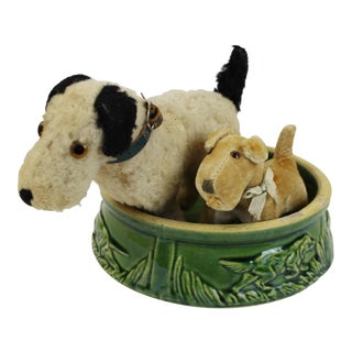 Steiff Dogs With Dog Bowl - Set of 3