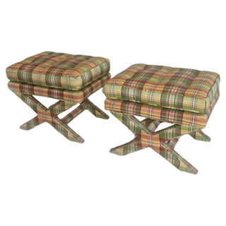 Billy Baldwin-Style Silk X-Leg Stools - A Pair