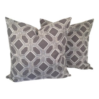 Grey Linen Pillows With White Embroidery - A Pair