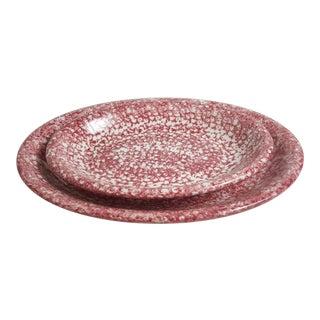 Two Italian Hand Painted Spatterware/Spongeware Platters