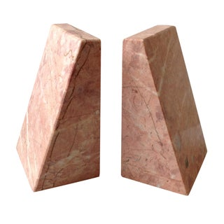Pink Marble Architectural Bookends - A Pair