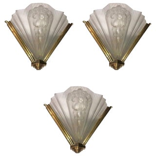 Atelier Petitot Signed French Art Deco Ribbed Wall Sconces - Set of 3