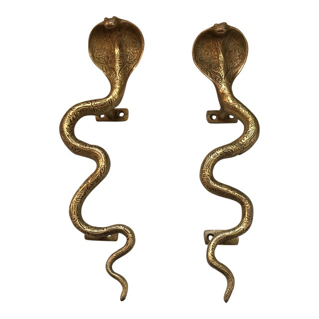 Gold Brass Cobra Door Handles- a Pair - Image 1 of 11