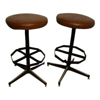 Vintage Mid-Century Modern Upholstered Iron Bar Stools