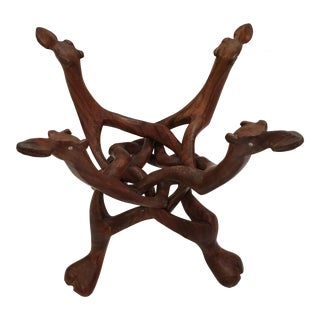 Vintage Hand Carved Wooden Stand