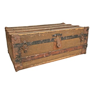 Vintage Wooden Industrial Steamer Trunk