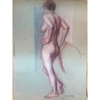 Martin Mondrus Nude Pastel on Paper Drawing