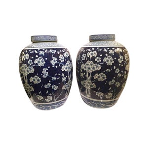 Blue & White Ginger Jars - A Pair