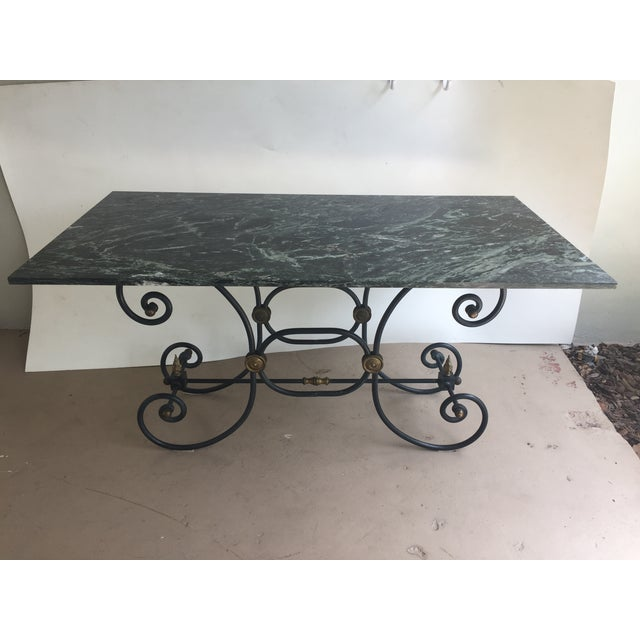 French Iron Marble Topped Table - Image 3 of 9