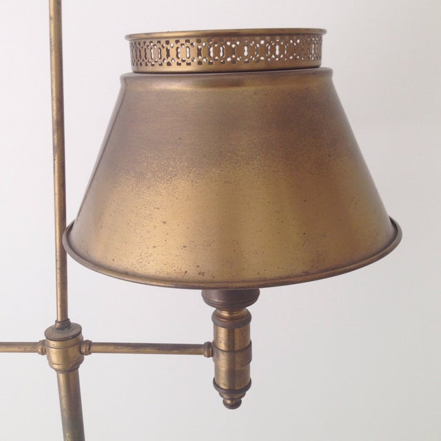 Aged Brass Tole Floor Lamp - Image 8 of 11