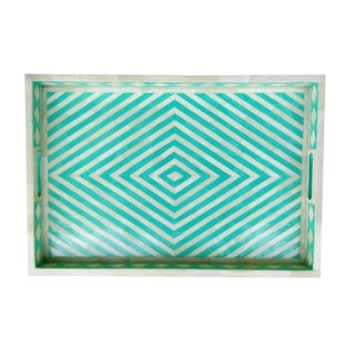 Green Geometric Bone Inlay Serving Tray