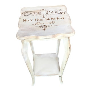 Vintage French Distressed Chalk Painted Off-White Side Table