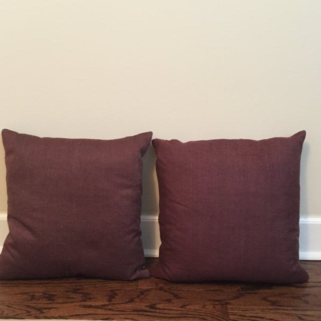 Beaded Linen Pillows - A Pair - Image 3 of 3