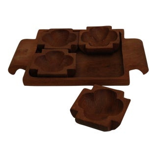 Hand Carved Nut Bowls & Tray - Set of 5