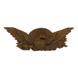 Vintage Hand Carved Eagle - Outstretched Wings & American Sheild