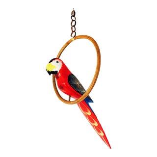 Vintage Hanging Wood Parrot