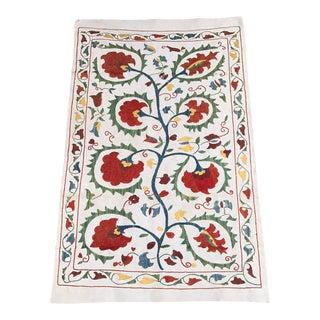 Handmade Pastel Suzani Floral Suzani Fabric Silk and Cotton
