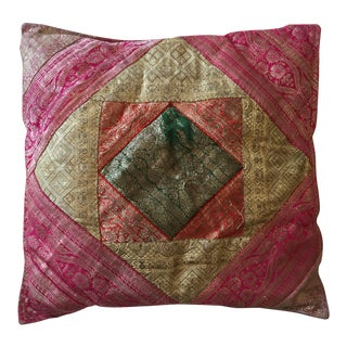 Vintage Indian Sari Quilt Pillow