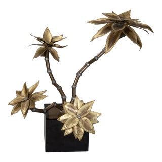 Maison Jansen Style Mid-Century Brass Metal Flower Sculpture