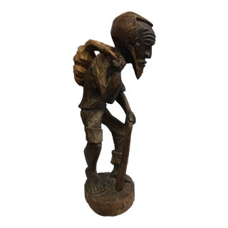 Carved African Man & Cane Sculpture