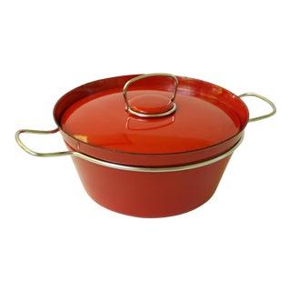 Vintage Rafa Denmark Nanna Ditzel Red Enamel Pot