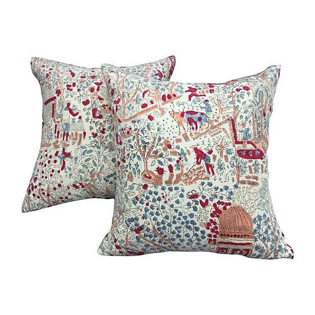 Bohemian 1970's Hand-Blocked Pillows - A Pair - Image 1 of 5
