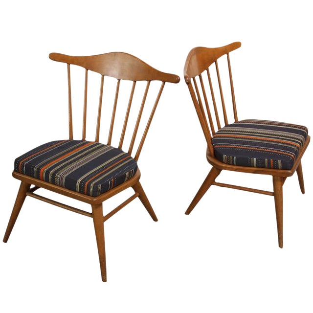 Pair of Conant Ball Spindle-Back Accent Chairs Attributed to Russel Wright - Image 1 of 10