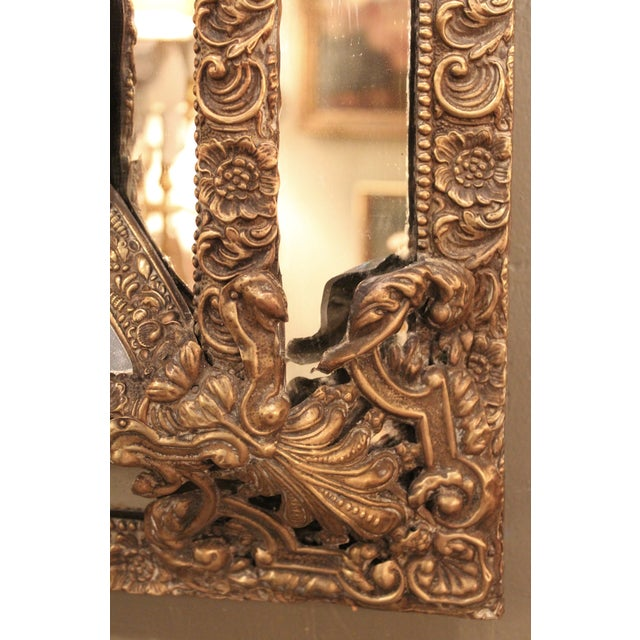 1870 Antique Italian Repousse Brass Mirror - Image 7 of 7