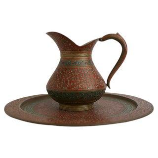 Vintage Moroccan Brass Ewer & Tray