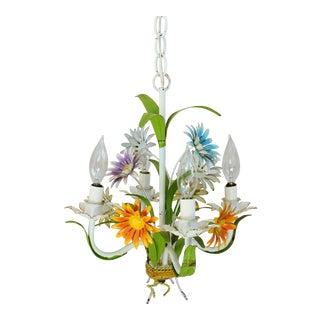 Vintage Four Arm/Light Italian Daisy Flower Tole Chandelier