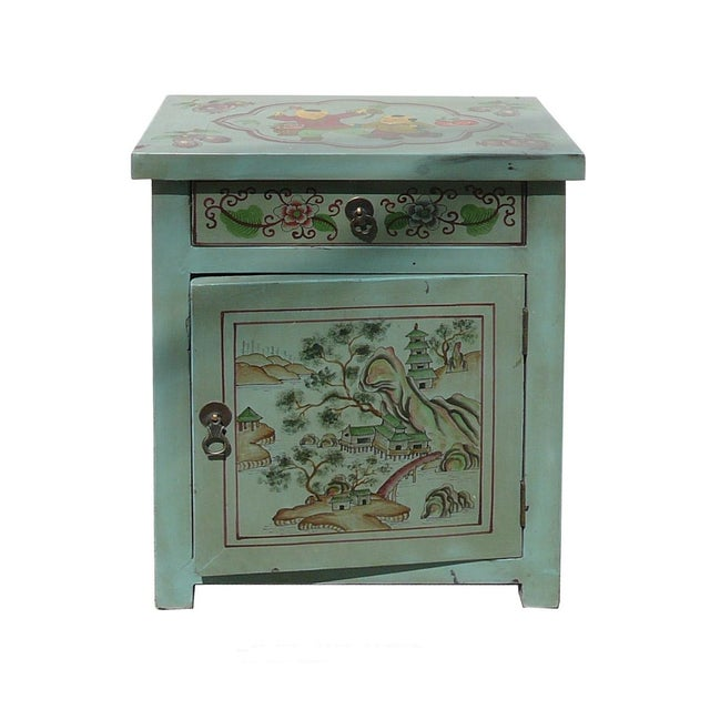 Image of Oriental Pastel Blue Side Table/Nightstand