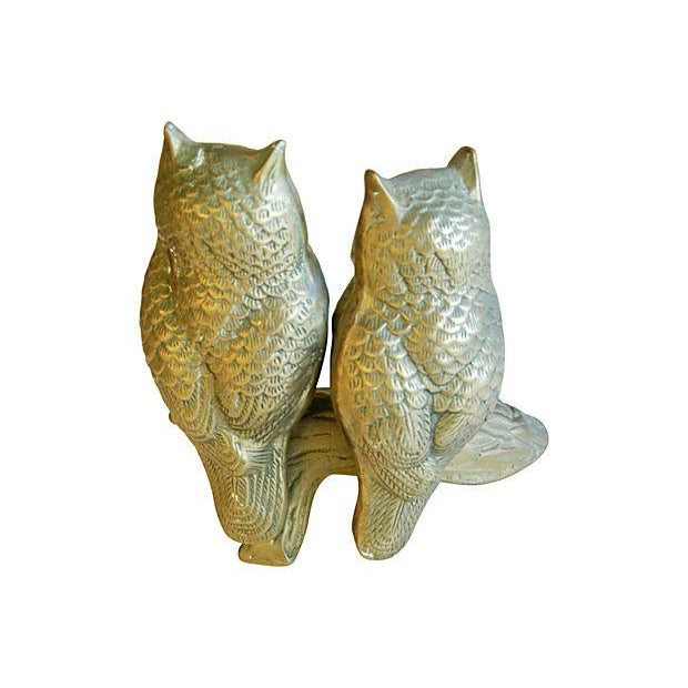 Mid-Century Modern Brass Owls on Branch Statue - Image 4 of 6