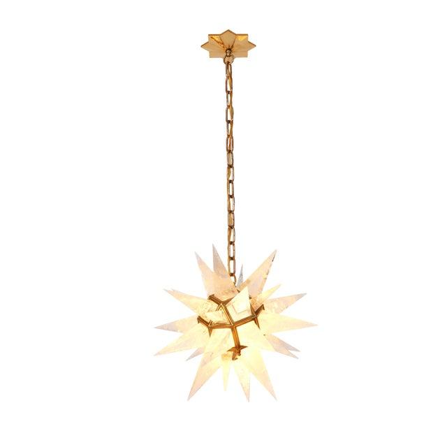 Quartz Star Pendant Light with Antique Brass Frame - Image 3 of 6