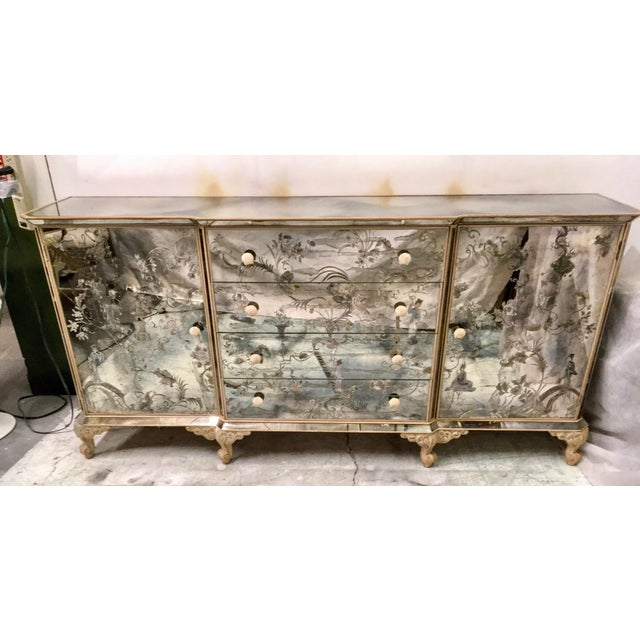 1950s Mirrored Chinoiserie Credenza - Image 6 of 10