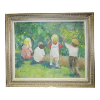 "Murray ""Children Picking Flowers"" Original Oil Painting"