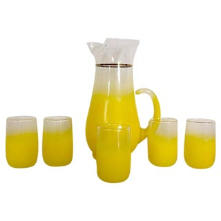 Frosted  Lemon Yellow Glass Drink Set - 6 Pieces