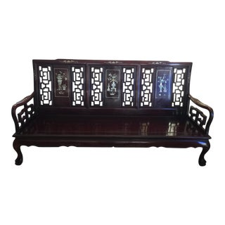 Chinese Alabaster & Mother-Of-Pearl Rosewood Sofa