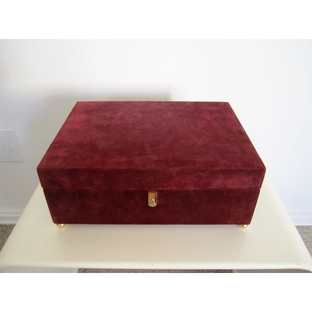 Mark Cross Italian Suede & Leather Jewelry Box - Image 2 of 10