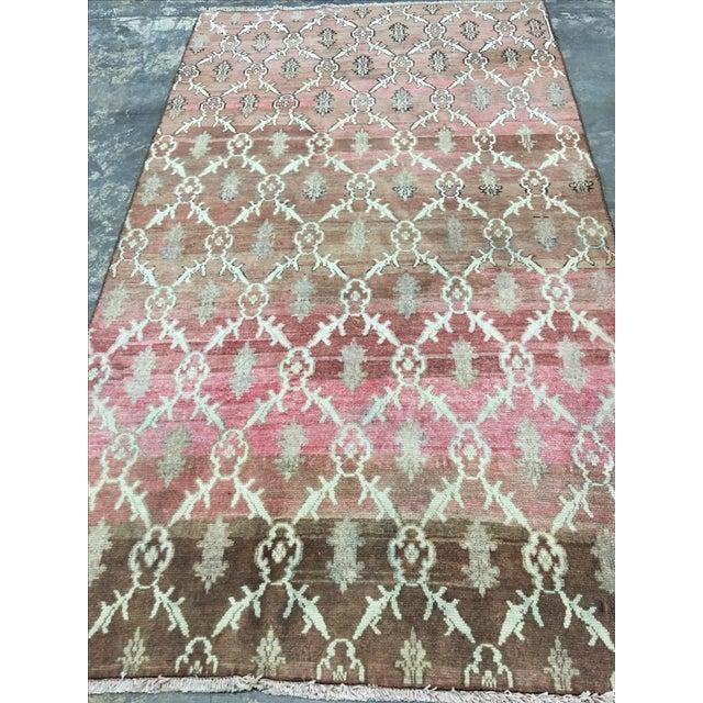 Brown & Pink Oushak Turkish Rug - 4′9″ × 8′6″