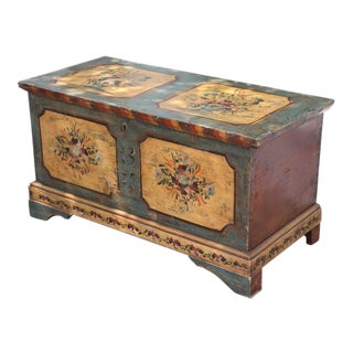 19th Century Hand Painted Italian Trunk Flower Decorations
