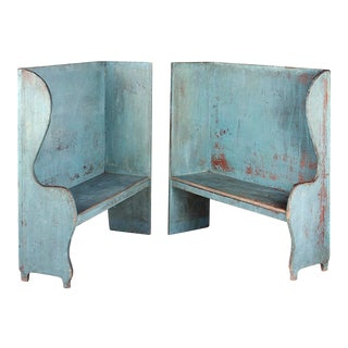 PAIR OF ROBIN'S EGG BLUE-PAINTED BENCHES FROM A PORTICO ON AN 1890'S HOME IN CANAAN, NEW YORK