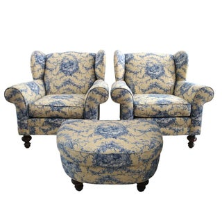 Rooster & Toile Club Chairs & Ottoman - Set of 3