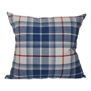 Striped Blue, White, and Red Plaid Pillow