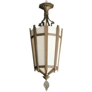"Art Deco Bronze and Glass ""Federal"" Chandelier"