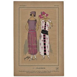 1922 Art Deco Fashion Pochoir Illustration