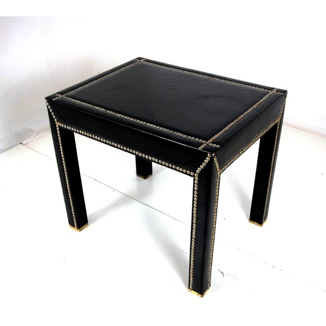 Italian Black Leather Studded End Tables - A Pair - Image 3 of 10